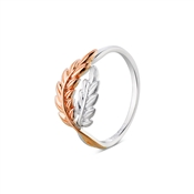 Argento Rose Gold & Silver Leaf Ring