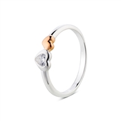 Argento Outlet Rose Gold & Silver Heart Ring