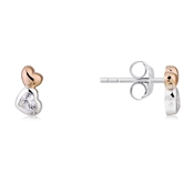 Argento Rose Gold & Silver Heart Earrings