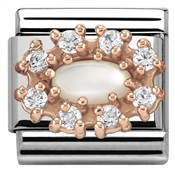 Nomination  Rose Gold Mother Of Pearl CZ Charm