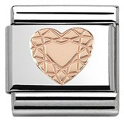 Rose Gold Diamond Heart Charm by Nomination