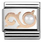 Nomination  Rose Gold White Pearl Curl Charm