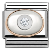 Rose Gold White Mother Of Pearl CZ Charm by Nomination
