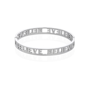 Affirmations Silver Cut-Out Believe Bangle