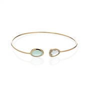August Woods Mint Green Glass Gold Bangle
