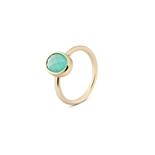 August Woods Outlet  Mint Green Glass Gold Ring