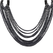 August Woods Black Cascading Beads Opulence Necklace