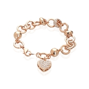 Crystal Heart Rose Gold Bracelet  by August Woods