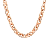 August Woods Rose Gold Chunky Chain Crystal Necklace