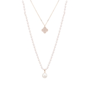 August Woods Rose Gold and Pearl Tiered Necklace