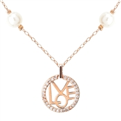 August Woods Rose Gold & Pearl Love Necklace