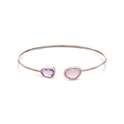 August Woods Blush Pink Glass Rose Gold Bangle