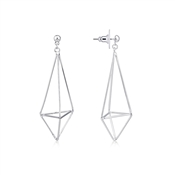 August Woods 3D Kite Shaped Silver Statement Earrings
