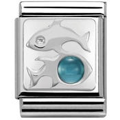 Nomination Big Blue Topaz Pisces Charm