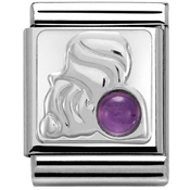Nomination BIG Amethyst Aquarius Zodiac Charm