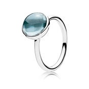 PANDORA Aqua Blue Poetic Droplet Ring