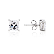 Argento Solitaire Square Cut Stud Earrings