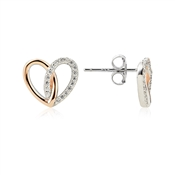 Argento Interlocking Rose Gold Mix Heart Earrings