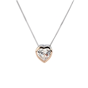Argento Solitaire Rose Gold Mix Heart Necklace