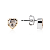 Argento Solitaire Rose Gold Mix Heart Stud Earrings