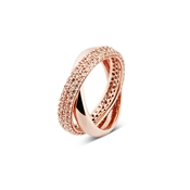 Argento Outlet Rose Gold Interlocking Bands Ring