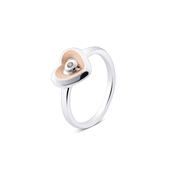 Argento Outlet Rose Gold & Silver Crystal Heart Ring