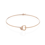 Argento Rose Gold Double Heart Clasp Bangle