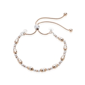 Argento Silver, Pearl and Rose Gold Pull Friendship Bracelet