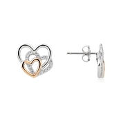 Argento Rose Gold Mix Trio of Hearts Studs