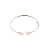 Argento Rose Gold & Pearl Torque Bangle