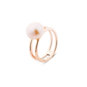 Argento Outlet Rose Gold Double Band Pearl Ring