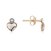Argento Rose Gold Champagne Heart Stud Earrings