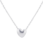 Argento Matte Silver Heart Necklace