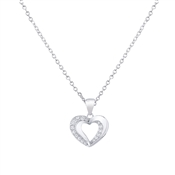 Argento Shimmering Hearts Crystal Outline Necklace