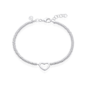Argento Silver Open Heart Beaded Bracelet