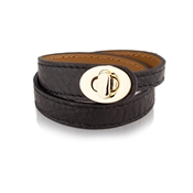 August Woods Outlet  Black & Tan Leather Bracelet