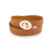 August Woods Outlet  Tan & Gold Leather Bracelet