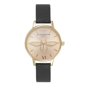 Olivia Burton Moulded Bee Midi Black & Gold Watch