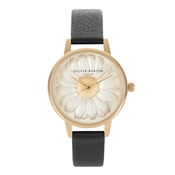 Olivia Burton 3D Daisy Black & Gold Watch