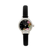 Olivia Burton Flower Show Black & Silver Mini Watch