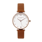 Olivia Burton Modern Vintage T-Bar Tan & Rose Gold Watch