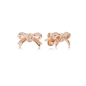 PANDORA Rose Bow Stud Earrings With Cubic Zirconia