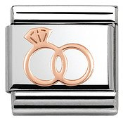 Rose Gold Wedding Rings Charm by Nomination
