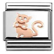 Rose Gold Cat Charm by Nomination