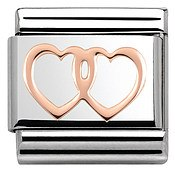 Rose Gold Double Heart Charm by Nomination