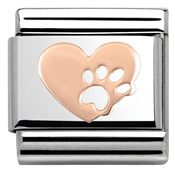 Nomination Rose Gold Heart With Paw Print Charm