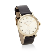 Marc by Marc Jacobs Baker Dexter Black Leather Gold Watch