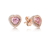 PANDORA Pink Sparkling Love Earrings