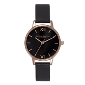 Olivia Burton Midi Black Dial & Rose Gold Watch