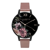 Olivia Burton After Dark Black Dial Floral Rose Gold Watch